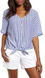 BeachLunchLounge Kelli Stripe Tie Front Linen & Cotton Blouse