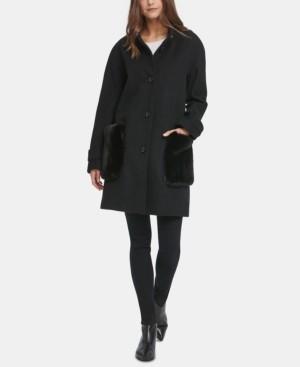 DKNY Petite Faux-Fur-Pocket Walker Coat
