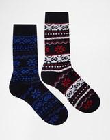Jack & Jones Christmas Boot Socks In Fairisle - Multi