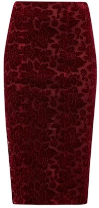 Galvan High-rise Rose-applique Velvet Pencil Skirt - Burgundy