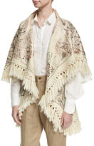 Chufy Tramando Embroidered Wool Poncho Vest, White