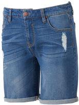 Tinseltown Juniors' Destructed Denim Bermuda Shorts