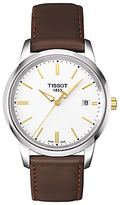 Tissot T0334102601101 Classic Dream Date Leather Strap Watch, Brown/white