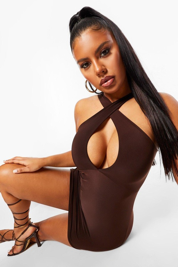 Thumbnail for your product : boohoo Slinky Cross Front Cut out Bodycon