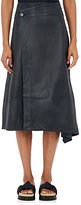 Helmut Lang Women's Leather Asymmetric Wrap Skirt-BLUE