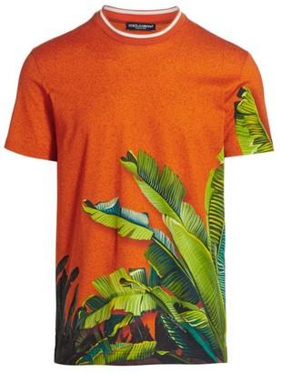 Dolce & Gabbana Girocollo Palm Leaf Graphic T-Shirt