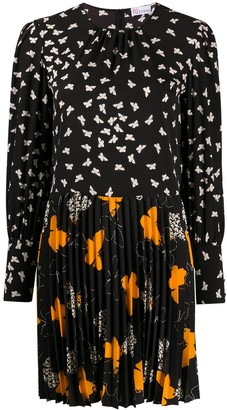 RED Valentino Butterfly-Print Pleated Dress