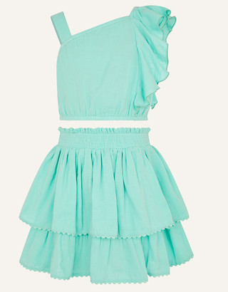 Monsoon Frill Top and Skirt Set Blue