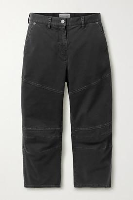Nili Lotan Martil Cropped Paneled Stretch-cotton Tapered Pants - Black