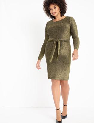 ELOQUII Lurex Tie Waist Dress
