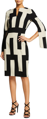Akris Geometric Split-Sleeve Wool Sheath Dress