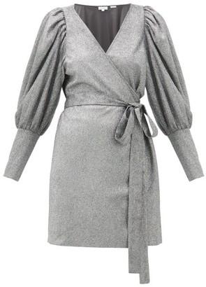 Rhode Resort Frankie Puff-shoulder Glitter-jersey Wrap Dress - Womens - Silver