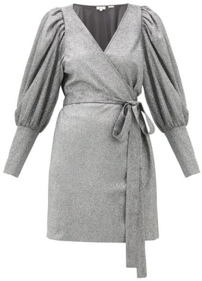 Rhode Resort Frankie Puff-shoulder Metallic-jersey Wrap Dress - Womens - Silver