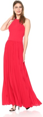 Aidan Mattox Aidan Women's Crepe Halter Gown with Pleated Skirt