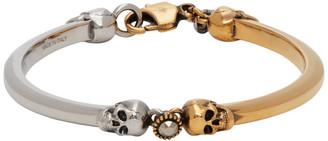 Alexander McQueen Silver and Gold Skull Bracelet