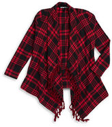 Planet Gold Girls 7-16 Fringe Plaid Top