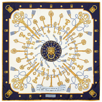 Aspinal of London Lion & Key Silk Scarf