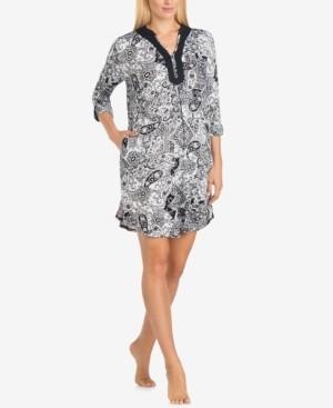 Ellen Tracy Split-Neck Printed Knit Sleepshirt Nightgown