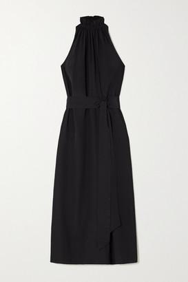 ARoss Girl x Soler Gretchen Belted Silk Crepe De Chine Halterneck Maxi Dress - Black