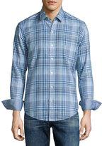 HUGO BOSS Plaid Long-Sleeve Sport Shirt, Turquoise