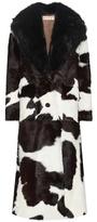 Marni Calf Hair Coat With Fur Collar
