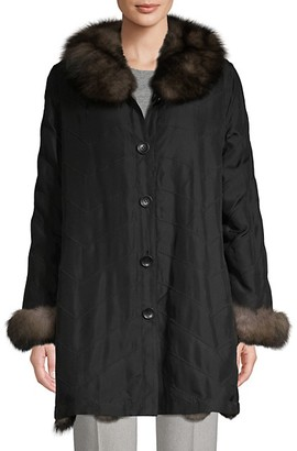 Belle Fare Reversible Fox Fur Silk Jacket