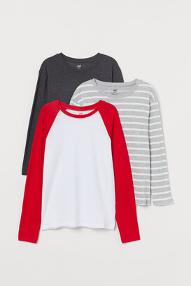 H&M 3-pack Jersey Shirts - Red