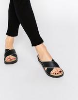 London Rebel Cross Strap Slide Flat Sandals