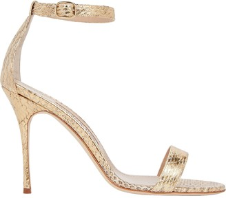 Manolo Blahnik Chaos Python-Embossed Sandals