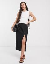 Asos Design DESIGN linen split front midi skirt