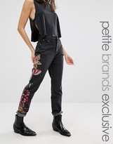 Glamorous Petite Boyfriend Jean With Embroidered Leg