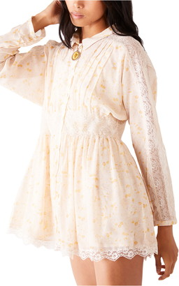 Free People Sheer Romance Long Sleeve Minidress