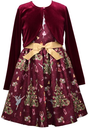 Bonnie Jean Girls 7-16 2-Piece Nutcracker Print Shantung Dress & Velvet Cardigan Set