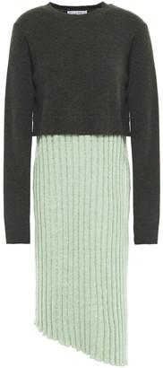 J.W.Anderson Asymmetric Paneled Melange Wool-blend Dress
