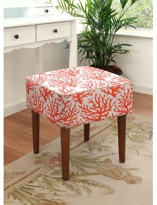 Highland Dunes Torrey Linen Upholstered Modern Vanity Stool Color: Coral Red
