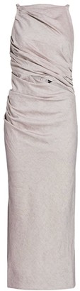 Jacquemus Tendino Linen-Blend Draped Midi Dress