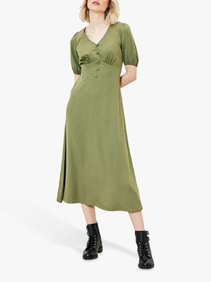 Oasis Puff Sleeve V-Neck Midi Dress, Khaki