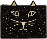 Charlotte Olympia Black Suede Feline Pouch