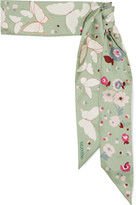 Valentino Butterfly Printed Silk-twill Scarf - Mint