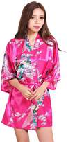 Honeystore Women's Japanese Kimono Silk Short Robe Peacock Nightgown Sleepwear XXL