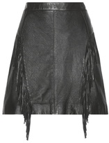 Saint Laurent Fringed Leather Miniskirt