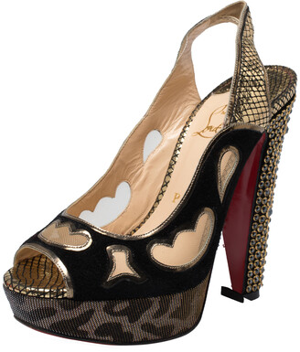 Christian Louboutin Black/Golden Suede, Leather And Mesh Peep Toe Slingback Platform Sandals Size 36