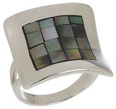 Mother of Pearl QVC Mosaic Mother-of-Pearl Sterling Concave Design Ring