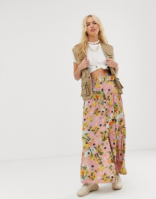 Asos DESIGN high waist midi skirt with self belt in palm print