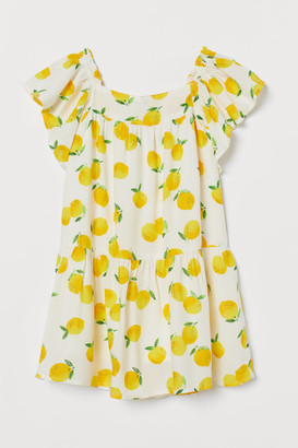 H&M Butterfly-sleeved Dress - White