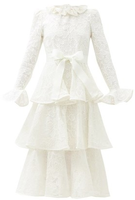 Zimmermann Lovestruck Tiered Cotton-lace Dress - White