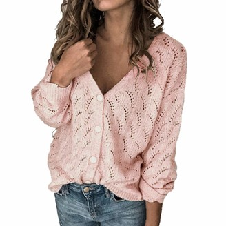 Yczx Womens Cardigans Knit Sweaters Casual Long Sleeve Loose Buttons Cardigan V Neck Knit Pullover Tops Autumn Elegant Cozy Warm Winter Knitted Tops All-Match Classic Sweaters M