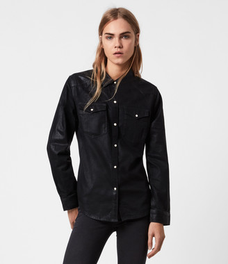 AllSaints Hazel Coated Denim Shirt