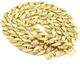 """loyoe jewelry Mens Gold Plated Cuban Chain Cz Hip Hop Iced Out 30"""" 10mm Miami Necklace"""