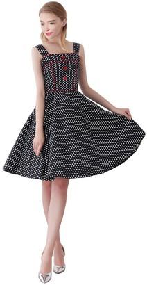 FiftiesChic Women's 100% Cotton Shoulder Straps 50s Inspired Vintage Rockabilly Party Dress (XL (US10/UK14/EU42)